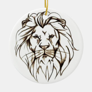 IMG_7779.PNG brave lion design Ceramic Ornament