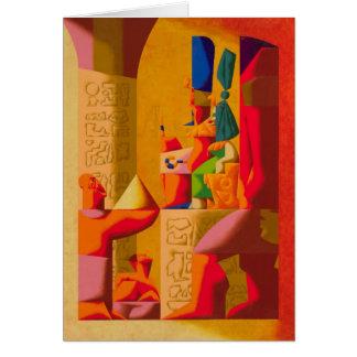 imhotep que muestra a pharaoh su diseño de la tarjeta de felicitación