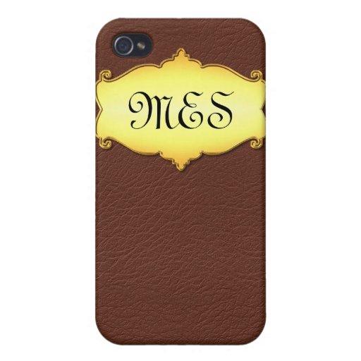 Imitación de cuero con la placa adaptable del oro iPhone 4/4S funda