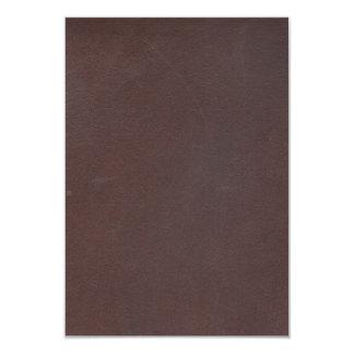 """Imitación de cuero de Brown oscuro Invitación 3.5"""" X 5"""""""