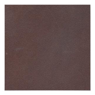 """Imitación de cuero de Brown oscuro Invitación 5.25"""" X 5.25"""""""