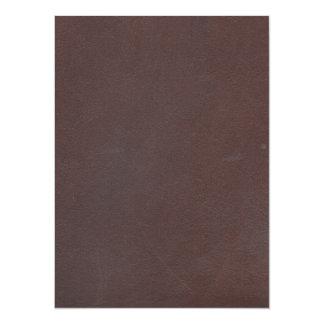 """Imitación de cuero de Brown oscuro Invitación 5.5"""" X 7.5"""""""