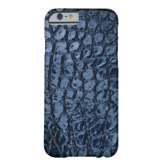 Imitación de cuero del azul del cocodrilo funda de iPhone 6 barely there