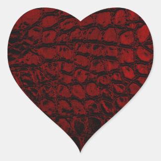 Imitación de cuero del rojo del cocodrilo calcomania de corazon