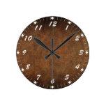 Imitación de cuero del Viejo Mundo Reloj De Pared