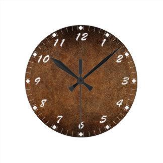 Imitación de cuero del Viejo Mundo Reloj Redondo Mediano