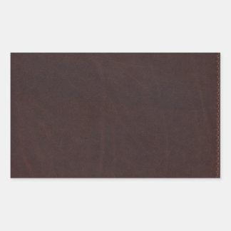 Imitación de cuero oscura de Brown de la castaña Pegatina Rectangular
