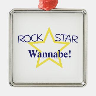 Imitador de la estrella del rock adorno cuadrado plateado