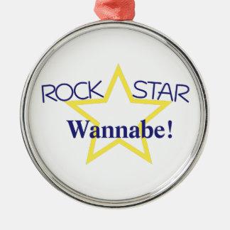 Imitador de la estrella del rock adorno redondo plateado