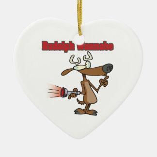 imitador divertido del reno adorno de cerámica en forma de corazón