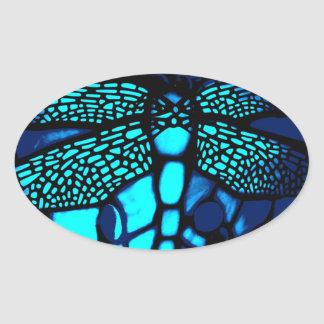 imitation blue oval sticker