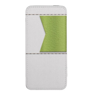 Imitation of white leather, seams, green label iPhone 5 pouch