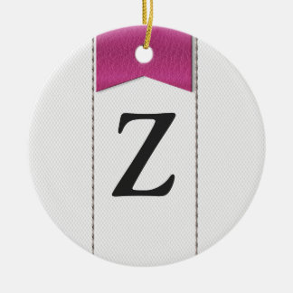 Imitation of white leather, seams, pink label ceramic ornament
