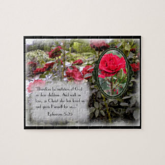 Imitators Of God Bible Verse Red Rose Puzzle