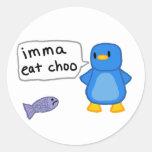 Imma come el pingüino de Choo Pegatina Redonda