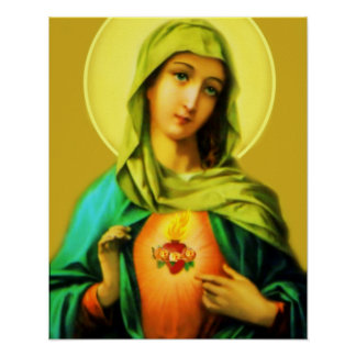 Immacualte Heart of Mary Vintage Image Poster