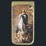 """Immaculate Conception of Virgin Mary Gold Finish Money Clip<br><div class=""""desc"""">Vintage 17th century painting of Madonna in the clouds surrounded by cherubs and angels.  Fine art by Murillo.</div>"""