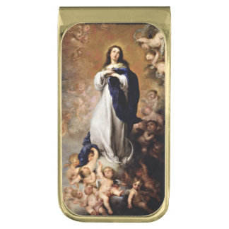 Immaculate Conception of Virgin Mary Gold Finish Money Clip