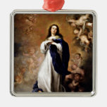 Immaculate Conception Square Metal Christmas Ornament
