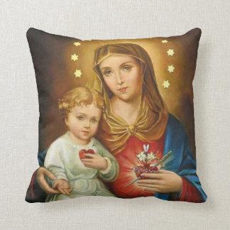 Immaculate Heart Mary Fatima Angels Prayer Throw Pillow