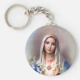 Immaculate Heart of Mary Basic Round Button Keychain