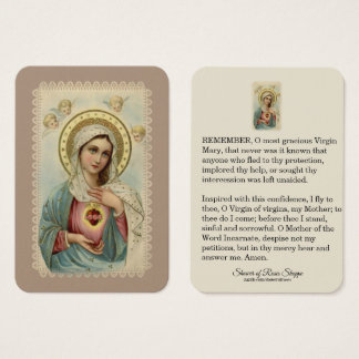 Immaculate Heart of Mary  Memorare Cherubs Holy Business Card