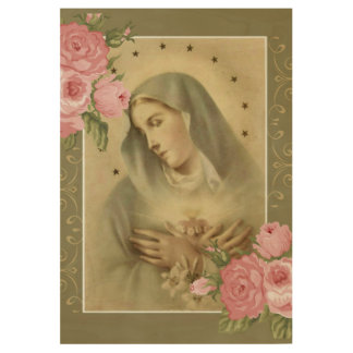 Immaculate Heart of Mary Pink Roses crossing hands Wood Poster