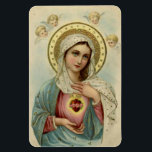 """Immaculate Heart of Mary Refrigerator/CAR Magnet<br><div class=""""desc"""">Beautiful image of the Immaculate Heart of Mary with cherubs above her.</div>"""