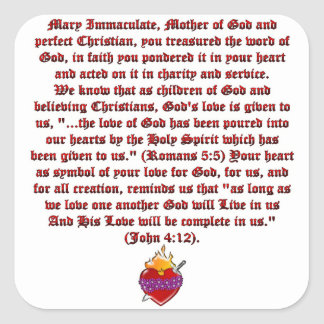 Immaculate Heart of Mary Square Sticker