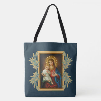 Immaculate & Sorrowful Heart Mary Baby Jesus Tote Bag