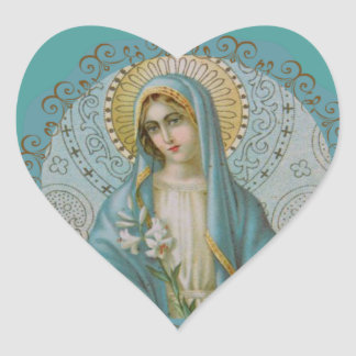 Immaculate Virgin Mary Decorative Heart Sticker