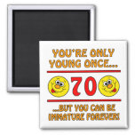 Immature 70th Birthday Gag Gifts 2 Inch Square Magnet