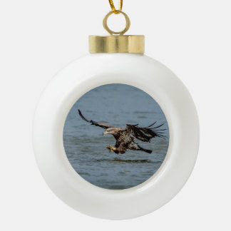 Immature Bald Eagle diving for a fish Ceramic Ball Christmas Ornament
