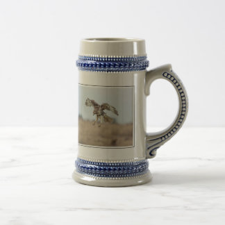 Immature Red Tailed Hawk Hovering Beer Stein