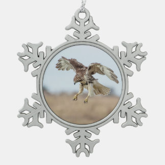 Immature Red Tailed Hawk Hovering Snowflake Pewter Christmas Ornament