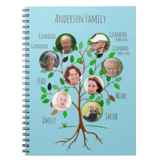 Immediate Family Photo Tree Spiral Notebook