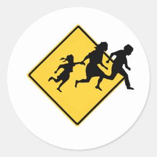 Immigrant crossing classic round sticker
