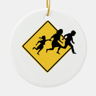 Immigrant crossing Double-Sided ceramic round christmas ornament