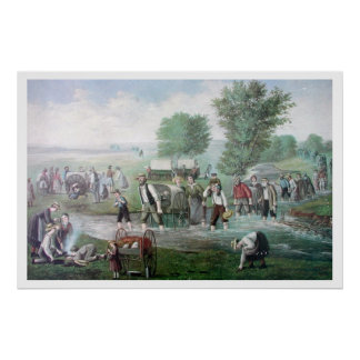 IMMIGRANTS  CROSSING AMERICA IN WAGON TRAINS POSTER