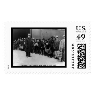 Immigrants going to Ellis Island 1911 Stamp
