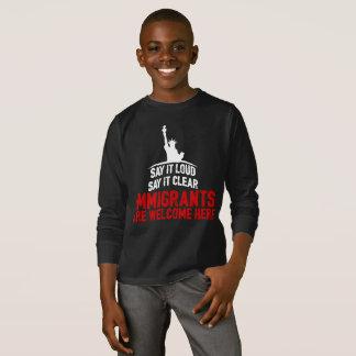 Immigrants Welcome Boy's Dark Long Sleeve T-Shirt