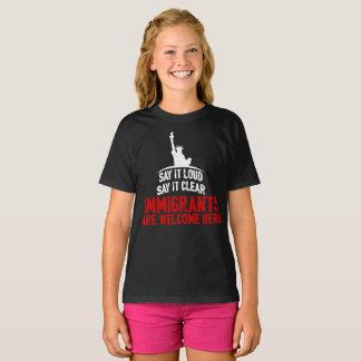 Immigrants Welcome Girl's Dark T-Shirt