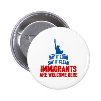 Immigrants Welcome Round Button