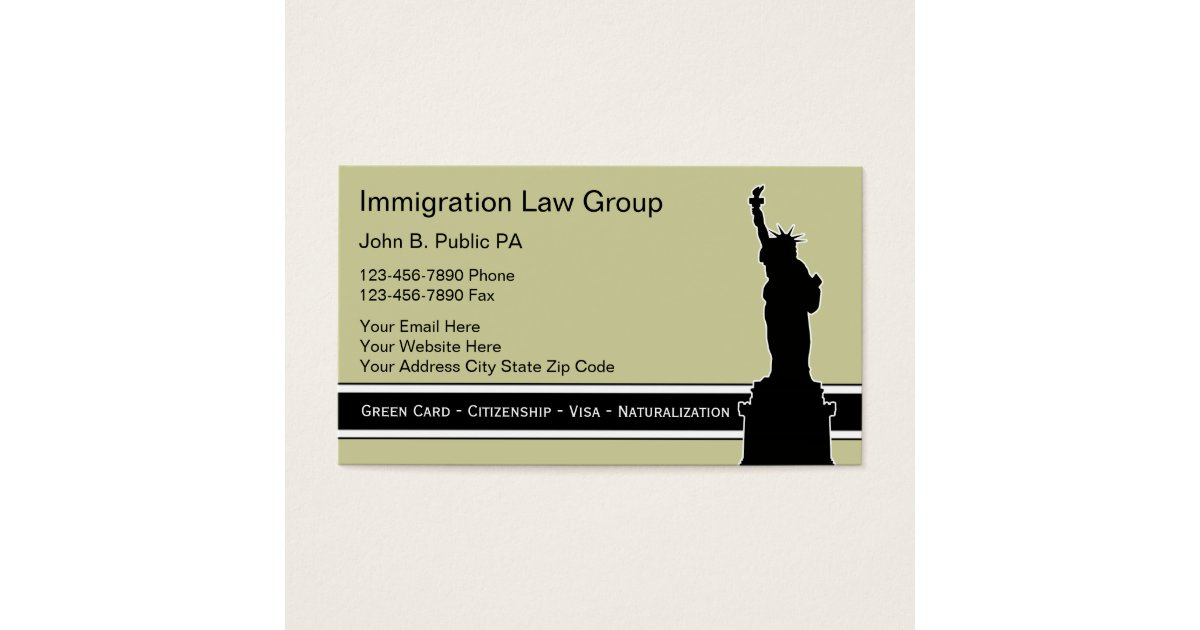 Immigration Business Cards & Templates   Zazzle