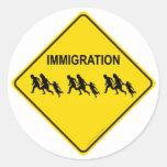 Immigration Crossing Round Sticker