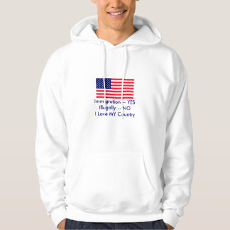 Immigration -- YES Illegally -- NO USA Flag Pullover