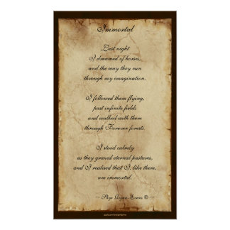 """Immortal"" Horse Lover Spiritual Poetry Poster"