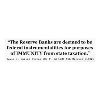 Immunity of the Federal Reserve Banks Lewis v US Photograph