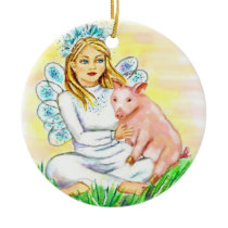 Imogene Christmas Angel Piglet JL Biel Ceramic Ornament
