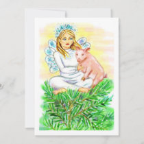 Imogene Christmas Angel Piglet JL Biel Holiday Card